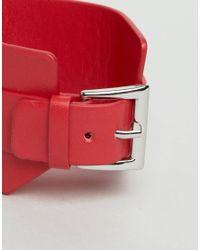 Monki - Red Buckle Bracelet - Lyst