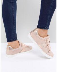 Miss Kg Natural – Gestreifte Sneaker mit Metallic-Seiten