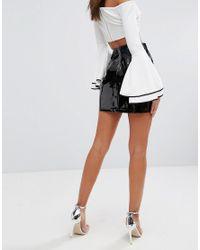 Fashion Union - Black Vinyl Bodycon Skirt - Lyst
