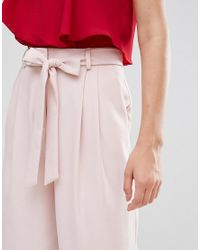ASOS - Pink Tall Tailored Culotte With Tie Waist In Crepe - Lyst