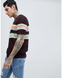 ASOS Purple Knitted Mesh T-shirt With Stripes for men