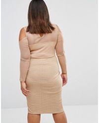 Club L Natural Plus High Neck Bandage Mesh Dress With Cold Shoulder Detail