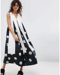 ASOS - White Midi Dress In Shaded Circle Print - Lyst