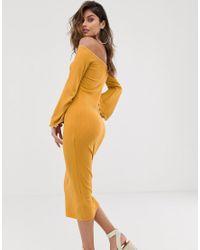Vestido midi ajustado en canalé con escote Bardot y costuras en cotraste ASOS de color Multicolor
