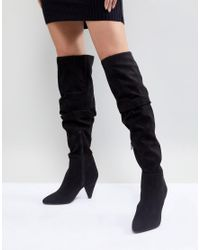 Miss Selfridge Black Over The Knee Boots With Flared Heels