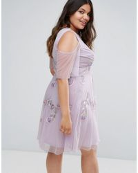Frock and Frill Purple Embellished Skater Dress With Ruffle Cold Shoulder