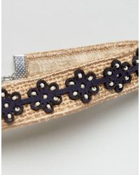 ASOS - Brown Raffia Flower Choker Necklace - Lyst