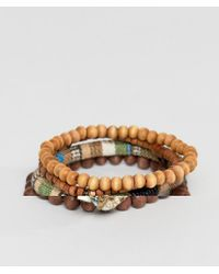 Icon Brand - Brown Beaded Bracelet In 3 Pack for Men - Lyst