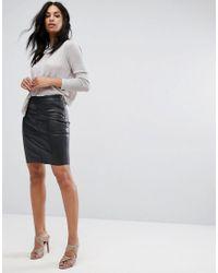 Vero Moda - Black Faux Leather Mini Skirt - Lyst