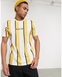 T-shirt bianco e albicocca a righe di Nicce London in Orange da Uomo