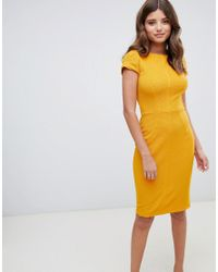 Closet - Yellow Ribbed Pencil Dress In Mustard - Lyst