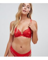 New Look Red Satin And Lace Brazilian