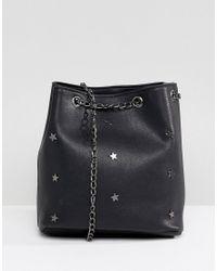 Yoki Fashion Black Bucket Bag With Star Studs