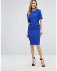 Vesper Blue Short Sleeve Pencil Dress
