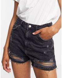 TOPSHOP Black Denim Rip Shorts