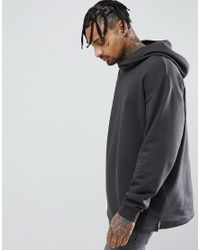 ASOS - Design Oversized Hoodie With Slouch Neck In Washed Black for Men - Lyst