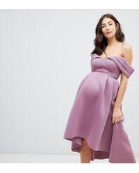 ASOS Pink Bardot Cold Shoulder Dip Back Midi Prom Dress