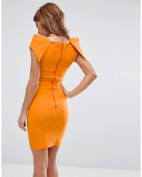 Vesper - Orange Pencil Dress With Origami Shoulders - Lyst