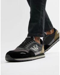 Modelo para correr en negro con logo de Emporio Armani de hombre de color Black