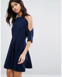 Whistles Blue Josephine Cold Shoulder Dress