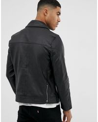 Bolongaro Trevor – Schmal geschnittene Lederjacke in Black für Herren