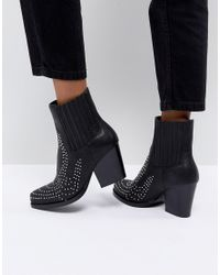 PRETTYLITTLETHING Black Studded Western Ankle Boot