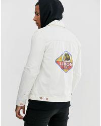 Veste en jean coupe classique avec imprimé au dos ASOS pour homme en coloris White