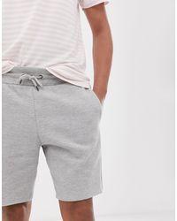 Short en coton piqué - chiné River Island pour homme en coloris Gray