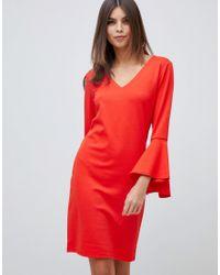 Vila Fluted Sleeve Mini Dress In Red