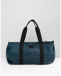 ASOS Barrel Bag In Green Satin Look for men