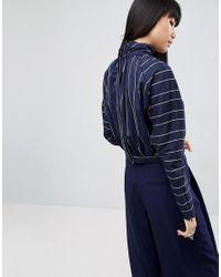 ASOS Blue Ovoid Sleeve Variegated Stripe Shirt