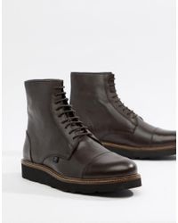 Farah Brown Jeans Chunky Lace Up Boot for men