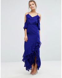 True Decadence - Blue Cold Shoulder Maxi Dress With Frilled Hem And Split - Lyst