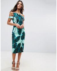 ASOS Green Palm Leaf Hitchcock Midi Pencil Dress