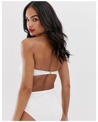 Vero Moda White – Trägerloser, strukturierter Bikini