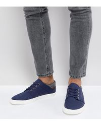 ASOS - Blue Asos Wide Fit Lace Up Plimsolls In Navy Faux Suede With Warm Handle Cuff for Men - Lyst