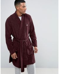 ASOS | Red Shawl Neck Towelling Robe With Logo for Men | Lyst