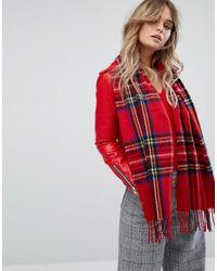 Écharpe motif écossais avec franges River Island en coloris Red