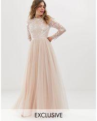 Robe longue manches longues ornementée avec jupe en tulle - quartz Needle & Thread en coloris Pink