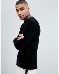 Stradivarius Sweatshirt With Crew Neck In Velvet In Black for men