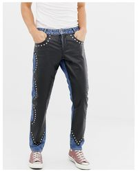 Узкие Синие Джинсы С Кожаными Вставками ASOS для него, цвет: Blue