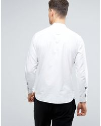Produkt - White Chambray Shirt With Grandad Collar And Clean Pocket for Men - Lyst