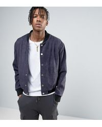 Mennace Blue Faux Suede Bomber Jacket With Embroidery In Navy for men