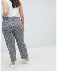 ASOS Blue Asos Design Curve Tailored Gingham Tapered Pants With Belt And Buckle Detail