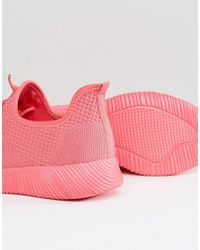 ASOS - Pink Dedicate Wide Fit Knitted Sneakers - Lyst