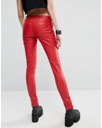 Tripp Nyc Red Faux Leather Pant