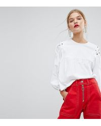 Mango White Shirt With Lace Up Shoulder Detail