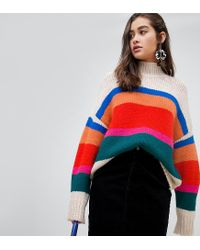New Look - Red High Neck Sweater In Cream Stripe - Lyst