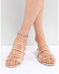 ASOS - Metallic Design Pack Of 3 Disc And Engraved Link Chain Anklets - Lyst