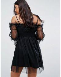 Missguided Black Tulle Cold Shoulder Dress